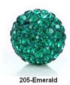 Free Shipping Shamballa beads Wholesales, Pave Clay Disco Crystal Ball Beads 10mm, #205 Emerald,  20pcs/lot