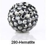 Free Shipping Shamballa beads Wholesales, Pave Clay Disco Crystal Ball Beads 10mm, #280 Hematite,  20pcs/lot