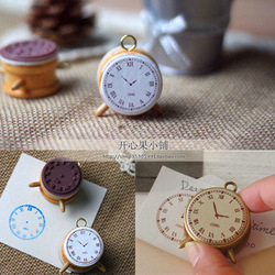 Korea funny Vintage classical standing clock style DIY Multifunction wooden stamp/MINI toy gift stamp/Freeshipping/Wholesale(China (Mainland))