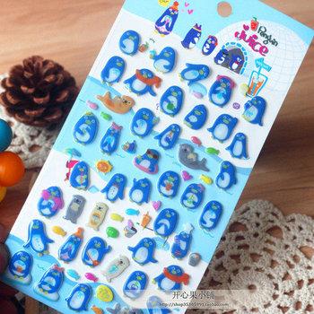 Free shipping 3D Funny stereoscopic epoxy stickers photo album decoration stickers blue penguin Fashion Gift/Wholesale