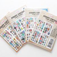 Free shopping 7321 vintage antique stamps label paper adhesive photo album decoration stickers 4  designs 800pcs/lot