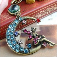 CTT Wholesale NE-0083 Fashion Jewelry Women Small Fairies Moon Imitation Diamond Necklace