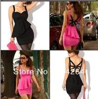 Fashion Lady Backless Sexy Slim Ruffle Tiered Strap Women Club Bar Dress Top    free shipping