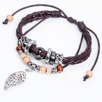 Free Shipping 12pcs/lot  Hot Bohemian Style Wooden Beaded Bracelet Leaf Leather Woven Pulsera For Gift QNW2033