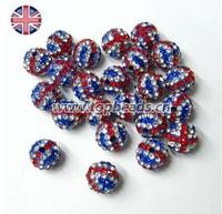 Free Shipping! Wholeales UK Flag beads,  New Shamballa Beads, UK beads