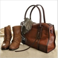 2013 Woman Hand Bag Sweet Candy Vertical Style PU Leather Handbag Tote Shoulder Bag Orange B16 Free Shipping