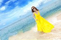 Ladies cotton bohemian style  beach V-neck Spaghettu strap  dresses