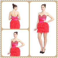 2013 Hot Sale Fashion Orange Collect Waist Sweetheart Beaded Mini Party Prom Dress ZR12481