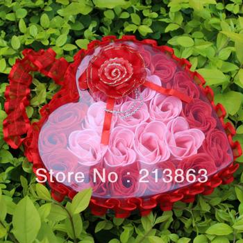 Free shipping! (minimume order is 20usd) Romantic Heart Shape Rose essential oil Soap Flower 24pcs/box wedding love Gift