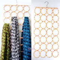 Free shipping !! 28-hole Ring Rope Slots Holder Hook Scarf Wraps Shawl Storage Hanger Organizer