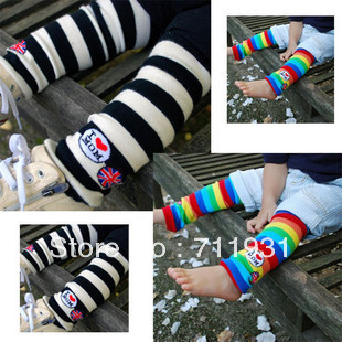 free shipping 8pcs/lot rainbow Baby cotton socks stripe leg warmers knee pad children legging Kids toddler High socks stocking(China (Mainland))