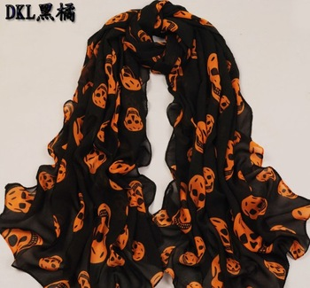 Free shipping! 2013 Fashion women black skull head scarfs long chiffon silk scarves and wraps S3