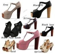Free shipping Fashion NEW Lace Womens Shoes Lady Chunky High Heel Peeptoe Platform Buckle Pump