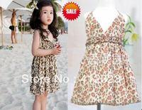 Free shipping Baby children girls summer leopard print suspender beach dress  fashion clothing
