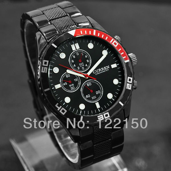 CURREN Brand new Men Celandar multi-time-zone quartz waterproof wrist watch free shippping(China (Mainland))
