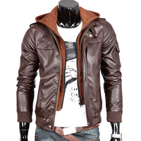 Leather jacket men motorcycle Rib bottom.Hooded  Thicken Korean style.Casual.Free shipping Wholesale.2013 New