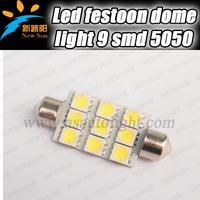 Free shipping! 6000K Error Free 9 SMD 5050 41mm c5w Festoon LED Interior Dome Lights Car LED Bulb