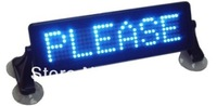 Indoor Mini LED Car Sign Remote control indoor support English,Russian,Spain Blue red yellow 254 *76.2*20mm