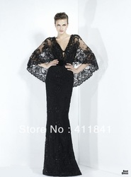Free shipping 2013 ladies popular dress Zuhair murad black v-neck beadings bolero and jacket mermaid evening dress(China (Mainland))