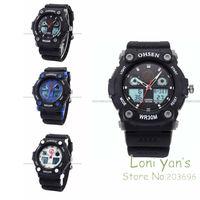OHSEN  Tone Men Sport Date Alarm EL Backlight Rubber Watch Quartz Wristwatch Dive Watches Chrisrtmas Gift