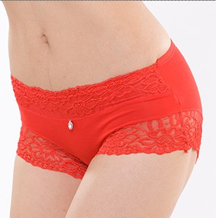 Women&#39;s seamless bamboo carbon fiber panties sexy lace modal 100% cotton female panties trunk panties gift box(China (Mainland))