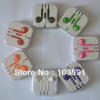 Drop shipping Colorful Stereo Earpod Headphone Earphone with Mic Volume +- control talk for Iphone 5 etc...
