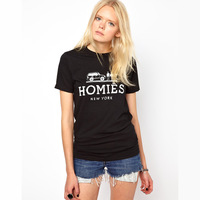 Womens o-neck slim short sleeve t-shirt with hommies logo printed for freeshipping and wholesale