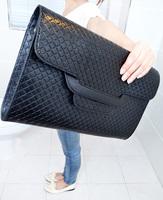 Free shipping 2014 new woman fashion knitted PU day clutch envelope messenger bag shoulder cross-body handbag