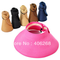 free shipping wholesale cheap!!! Summer women's folding beach hat sunbonnet visor strawhat women's  sun hat