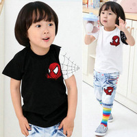 Children clothig wholesale 2013 summer new kids cartoon spideman short-sleeve T-shirt Free shpping 5 pcs/lot