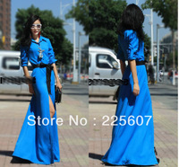 NEW Vintage Plus Larger Size Floor-length Princess Maxi Shirt Dress High Waist Spring Autumn s m l xxl xl