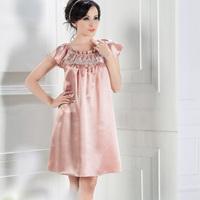Silk nightgown sexy sleepwear lounge summer lace silk temptation mulberry silk plus size
