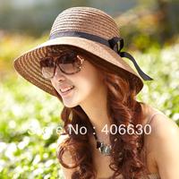 women summer straw bucket hat fashion ribbon sunbonnet beach cap free shipping