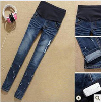2012 autumn winter adjustable blue  maternity skinny small foot jeans pregant woman skinny pants abdominal pencil pants