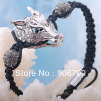 Free Shipping Silver Tone Wolf Head and Pave Clay Disco ball Beads Shamballa Bracelets, 6pcs/lot