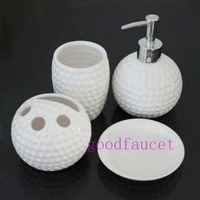 Free Shipping Wholesale And Retail Luxury Bathroom 4 pcs Soap Dispenser/ Dish/ Toothbrush Holder/ Cup Set White Color