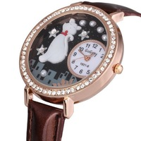 FREE DHL SHIPPING NEW Wrist quartz watch,lovely cat design,Crystal glass surface,Japan movement,good sheen leather band,80pcs