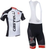 2013 NEW!!! Castelli white bib short sleeve cycling jerseys wear clothes bicycle/bike/riding jerseys+bib pants shorts