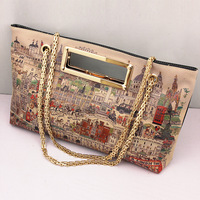 Minnith bag 2013 fashion doodle oil painting bag print one shoulder all-match women's handbag d589