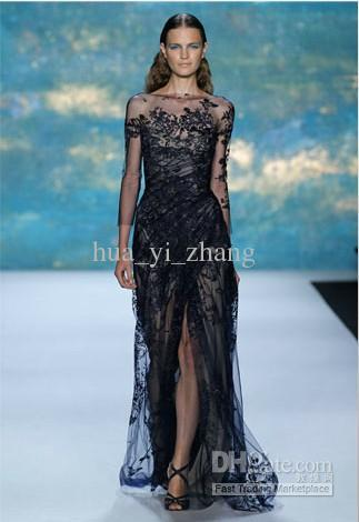 2013 Sexy Beach Black Lace Wedding Dress Long Sleeve Split Skirt Sheath Column Bridal Gown 13276(China (Mainland))