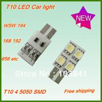 Free shipping wholesale T10 high power led lamp 10pcs/lot T10 168 194 Canbus White 4 LED SMD 5050 car Light Bulb Lamp 12V bulb
