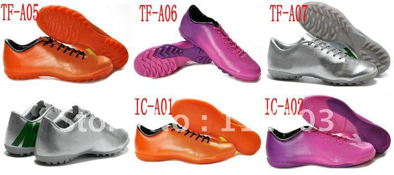 Free Shipping 2pairs per lot Men's Indoor IC Soccer Shoes Cheap Turf TF Team Sports Boots Cheap On Sale Many Colors to Choose(China (Mainland))