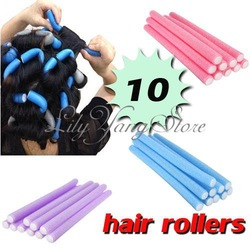 Free Shipping 10x Hairstyle Foam Curler Roller Stick Spiral Curls Tool DIY Bendy Hair Styling Sponge(China (Mainland))