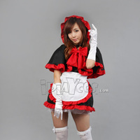 Halloween Christmas maid black and red with a hood cloak Christmas women's cosplay clothes  apron dress set 123