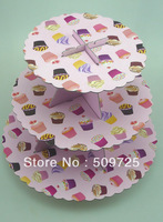 New 3-tier Cupcake Stand Paper Cake Holder Pink Event&Party Supplies