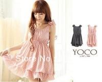 Chiffon Cute women's Japan Korea Korean Style Dress White polka dot Chiffon Cute free shipping, new Fashion 2013