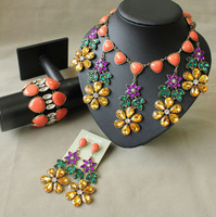 Unique Gem Big Chokers Bib Necklace J.C/ Free shipping/Wholesale/Pendant Statement / crystal Rhinestone/flower