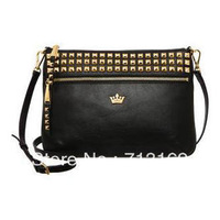 Girls' Generation Represent J.estina Handbag Messenger Cross Body Satchel Shoulder PU Tote Bag Metal Crown Logo Rivet Punk women