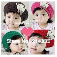 Free shipping  knitted hat with bear  child ear protector cap  baby hat for winter for boy and girl