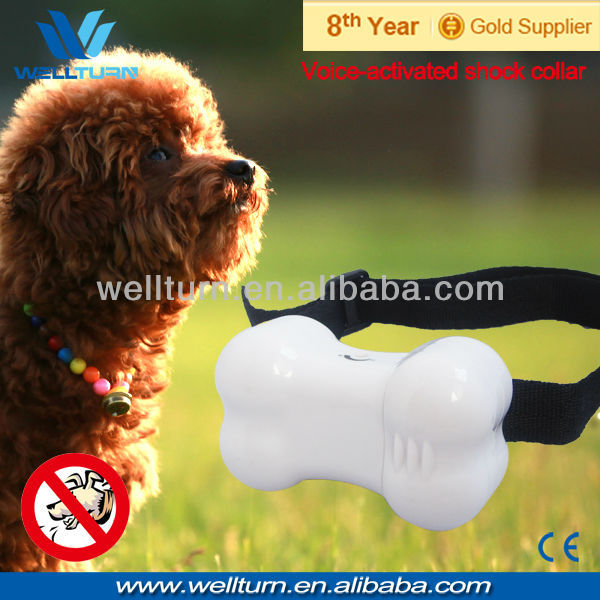 10PCS/Lot Free Shipping Bone Shape Adjustable Sensitive bark stop vibration collar(China (Mainland))